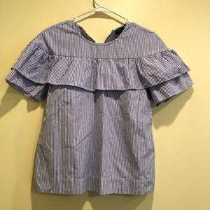 J CREW Edie striped ruffle shirt black label